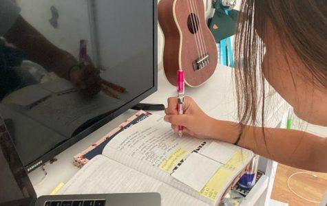 Madison Viernes completes her online school work.