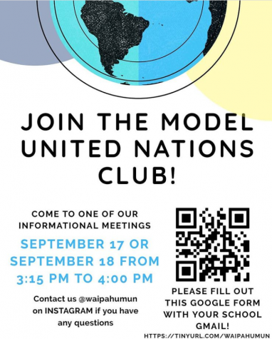 Like many other clubs, The Model United Nations club uses virtual flyers and other online tools to share information and hold meetings.